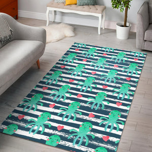 Cute Octopuses Heart Striped Background Area Rug