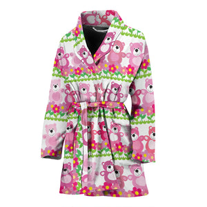 Teddy Bear Pattern Print Design 04 Women's Bathrobe