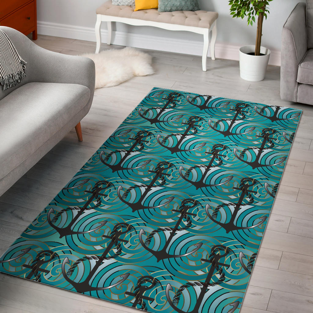 Anchor Nautical Green Background Area Rug