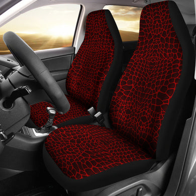 Crocodile Skin Printed Red Universal Fit Car Seat Covers