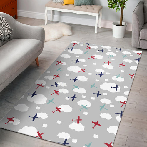 Airplane cloud grey background Area Rug