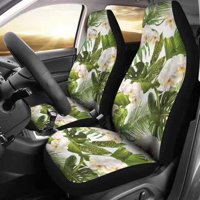 White orchid flower tropical leaves pattern Universal Fit Car Seat Covers