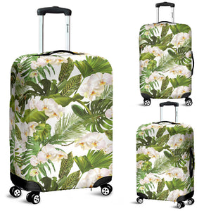 White orchid flower tropical leaves pattern Luggage Covers