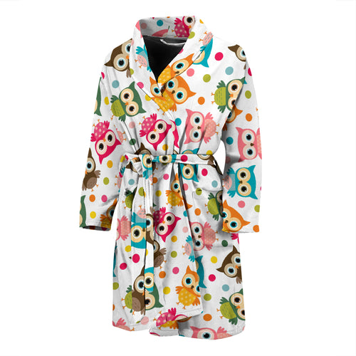 Color cute owl pattern Men's Bathrobe