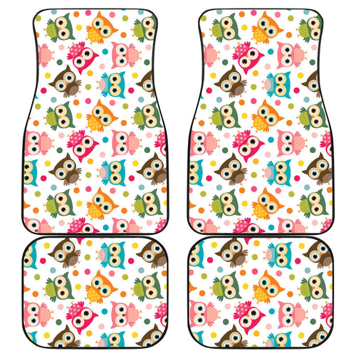 Color cute owl pattern Front and Back Car Mats