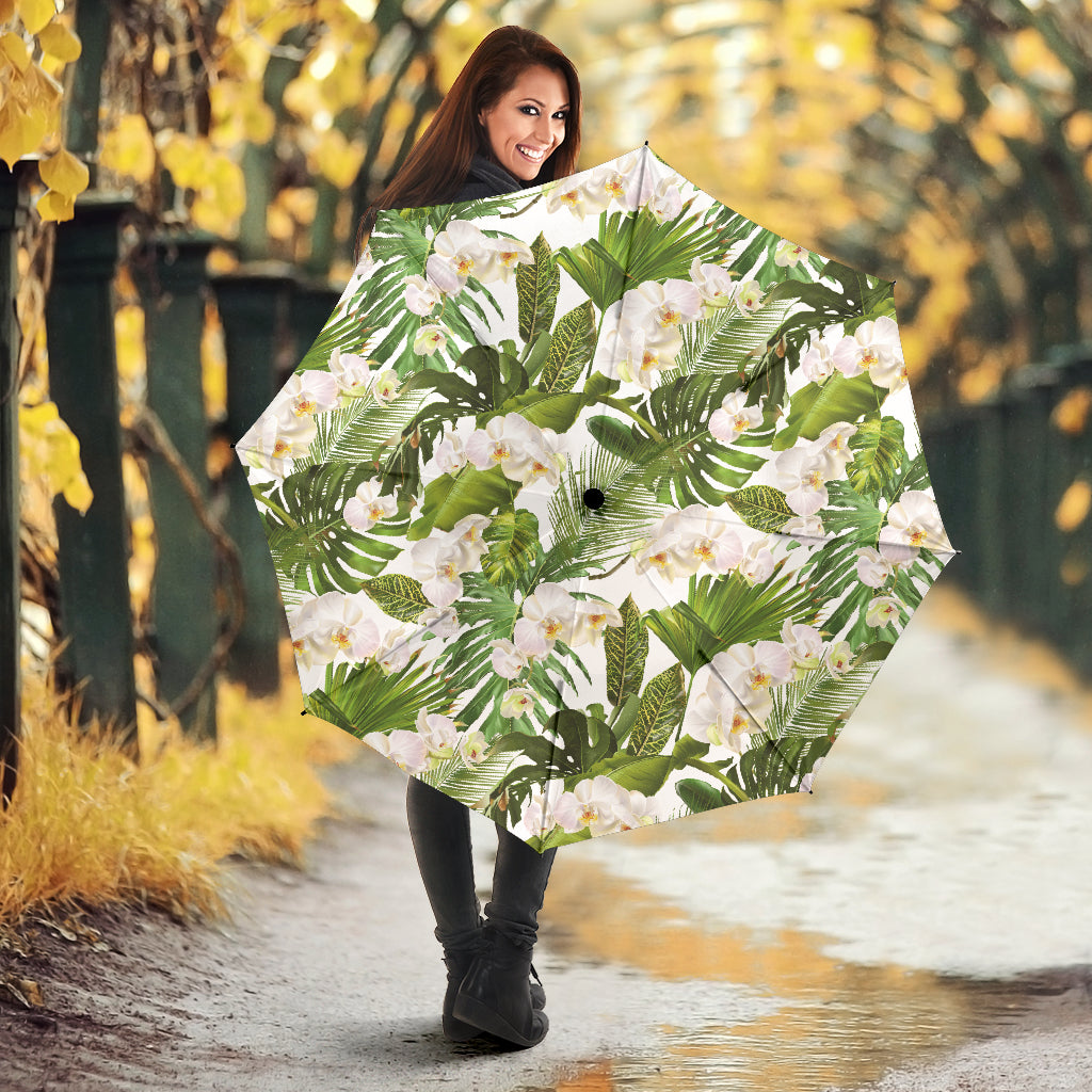 White orchid flower tropical leaves pattern Umbrella