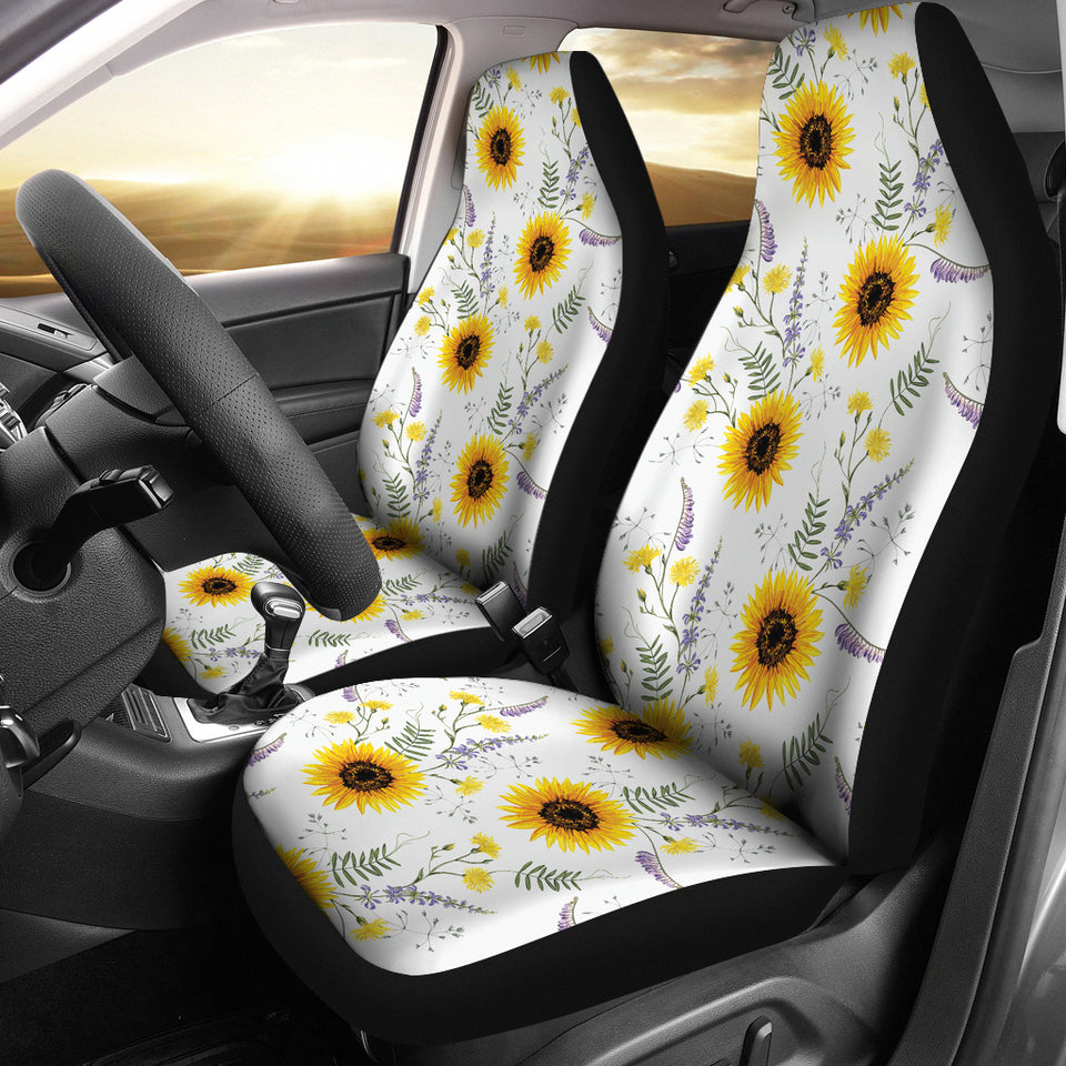 Admirable Beautiful Sunflowers Pattern Universal Fit Car Seat Covers Andrewgaddart Wooden Chair Designs For Living Room Andrewgaddartcom