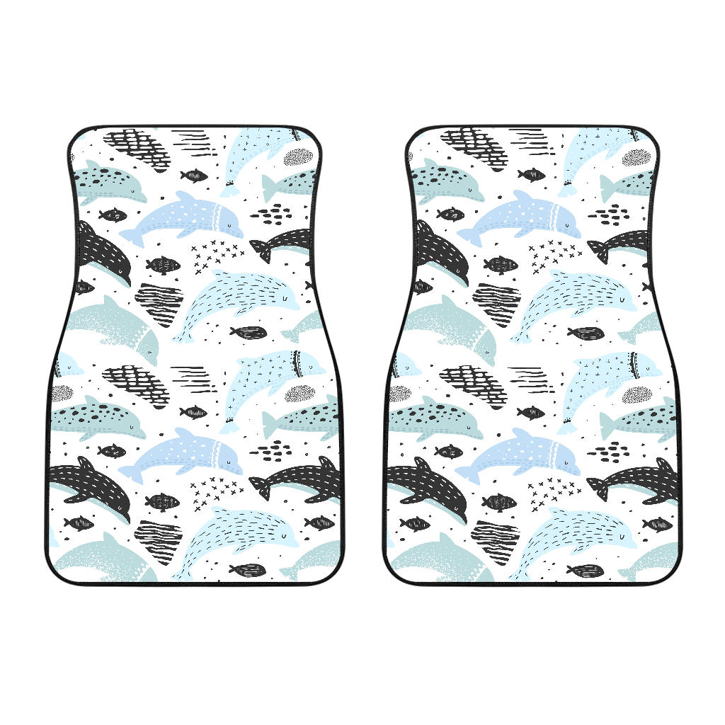 Cute Dolphins Childish Style Pattern Front Car Mats