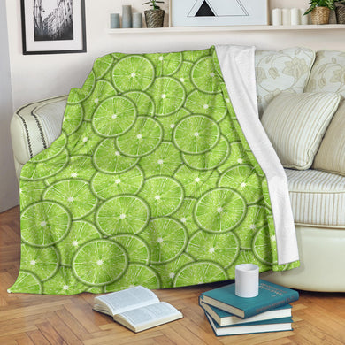 Slices of Lime pattern Premium Blanket