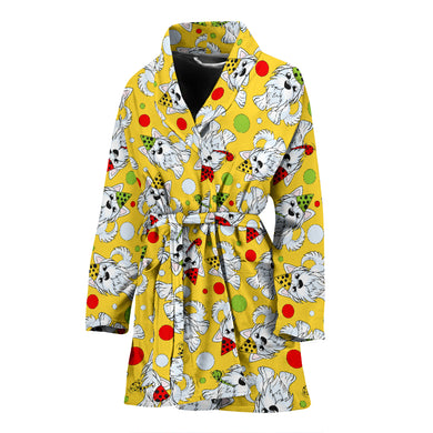 Yorkshire Terrier Pattern Print Design 05 Women's Bathrobe