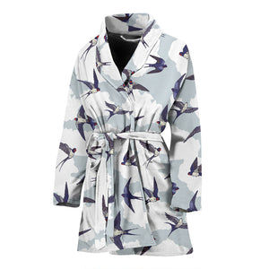 Swallow Pattern Print Design 05 Women's Bathrobe