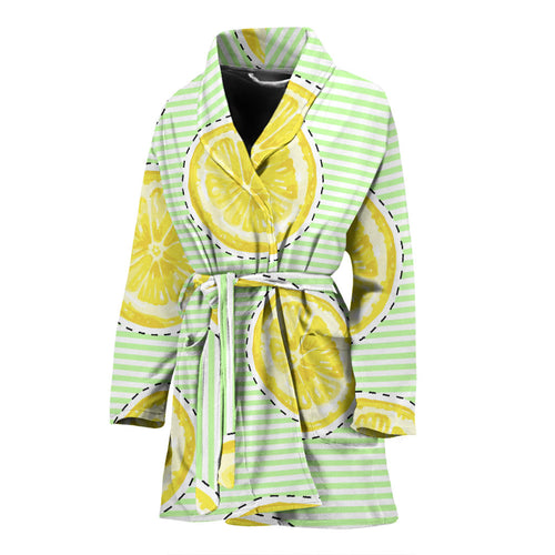 slice of lemon pattern Women's Bathrobe