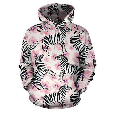 Zebra pink flower background Pullover Hoodie
