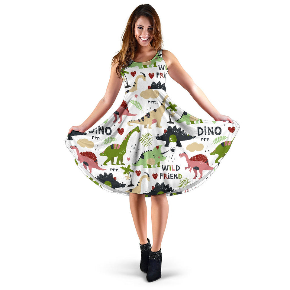 Cute dinosaurs pattern Sleeveless Midi Dress