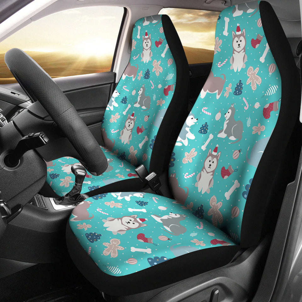Christmas Cute Siberian Husky Puppie Pattern  Universal Fit Car Seat Covers