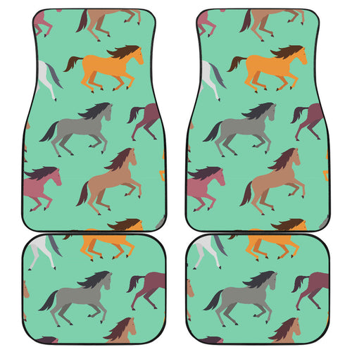 Colorful horses pattern Front and Back Car Mats