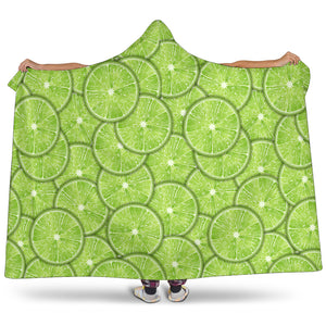 Slices Of Lime Pattern Hooded Blanket