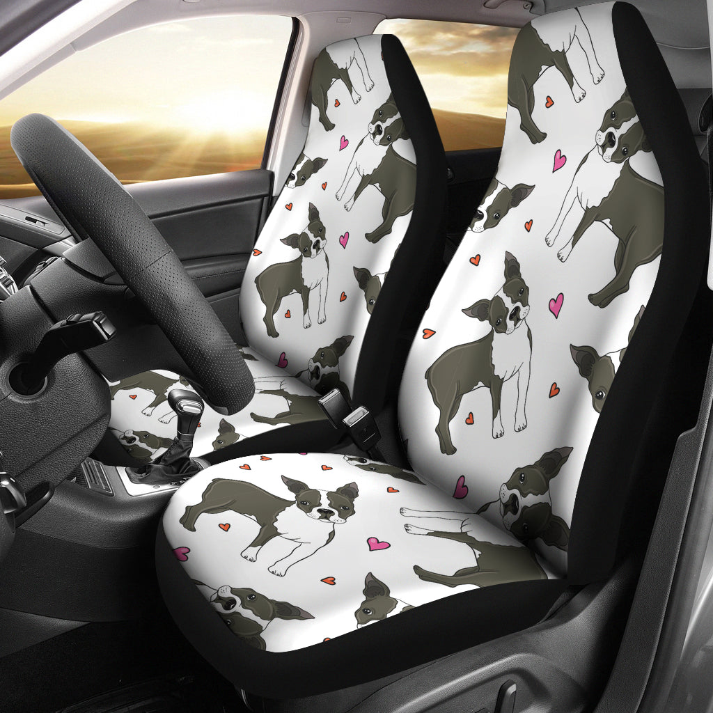 Boston terrier dog hearts vector pattern Universal Fit Car Seat Covers