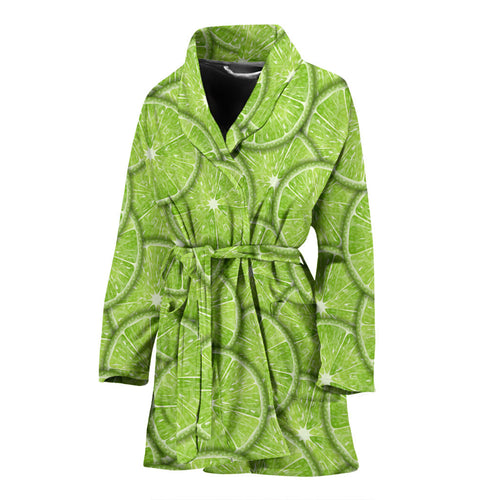Slices of Lime pattern Women's Bathrobe