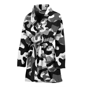 Black White Camo Camouflage Pattern Women'S Bathrobe