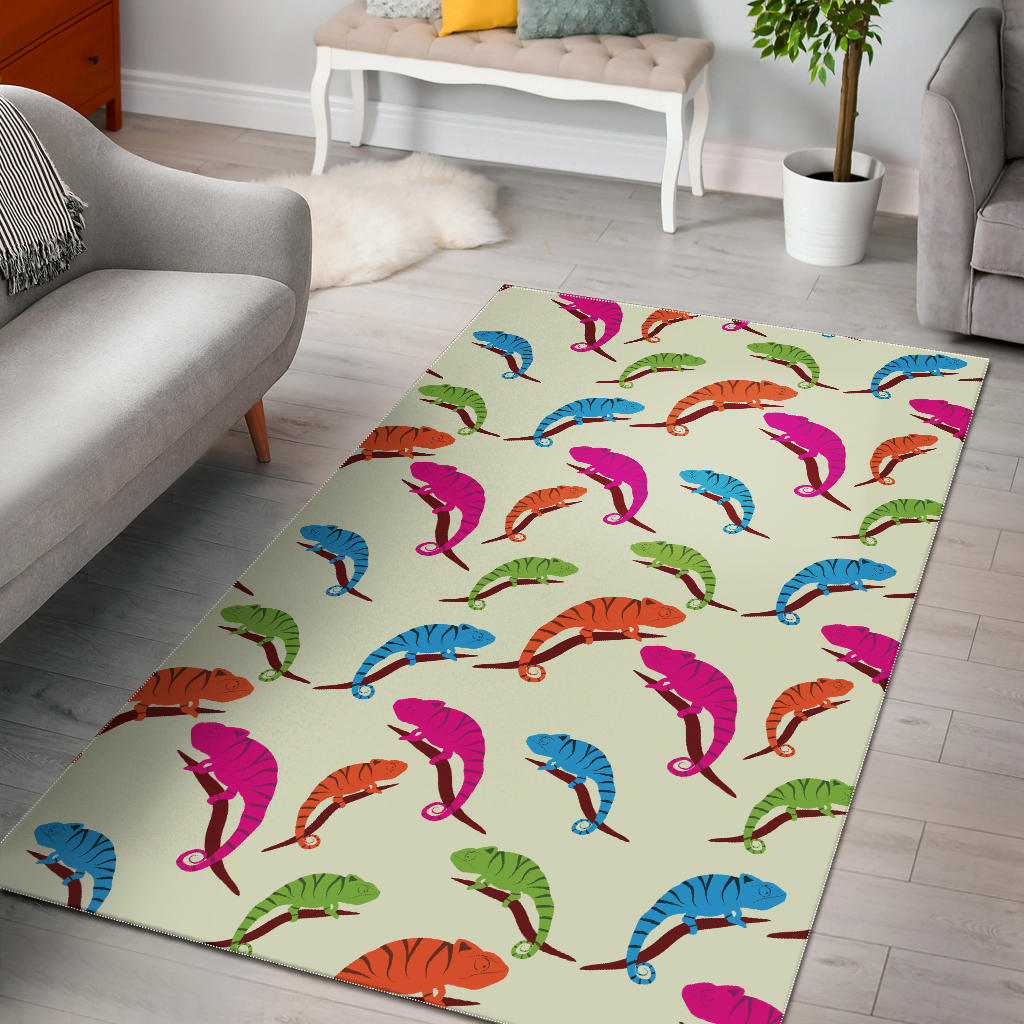 Colorful Chameleon Lizard Pattern Area Rug