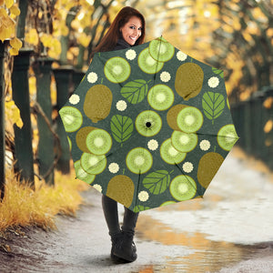 Whole sliced kiwi leave and flower Umbrella