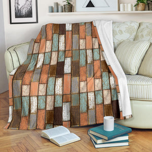 Wood Printed Pattern Print Design 02 Premium Blanket