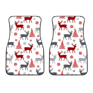 Deer Tree Snowflakes Chrismas Pattern Front Car Mats