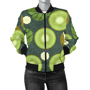 Whole Sliced Kiwi Leave And Flower Women'S Bomber Jacket