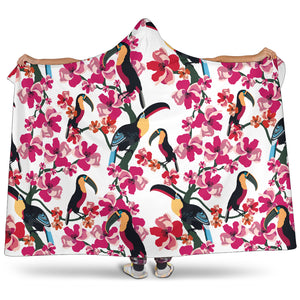 Toucan Flower Design Pattern Hooded Blanket