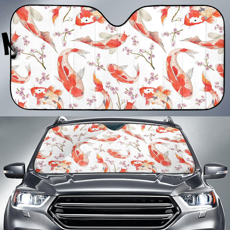 Watercolor Koi Fish Carp Fish Pattern Car Sun Shade