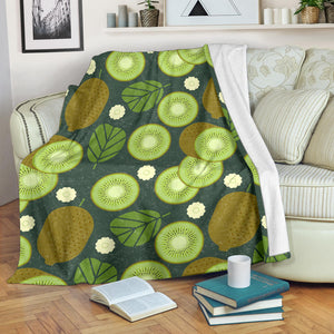 Whole sliced kiwi leave and flower Premium Blanket