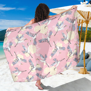 Japanese crane rose pattern Sarong