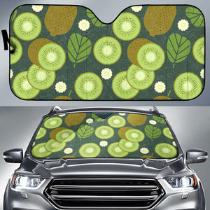 Whole sliced kiwi leave and flower Car Sun Shade