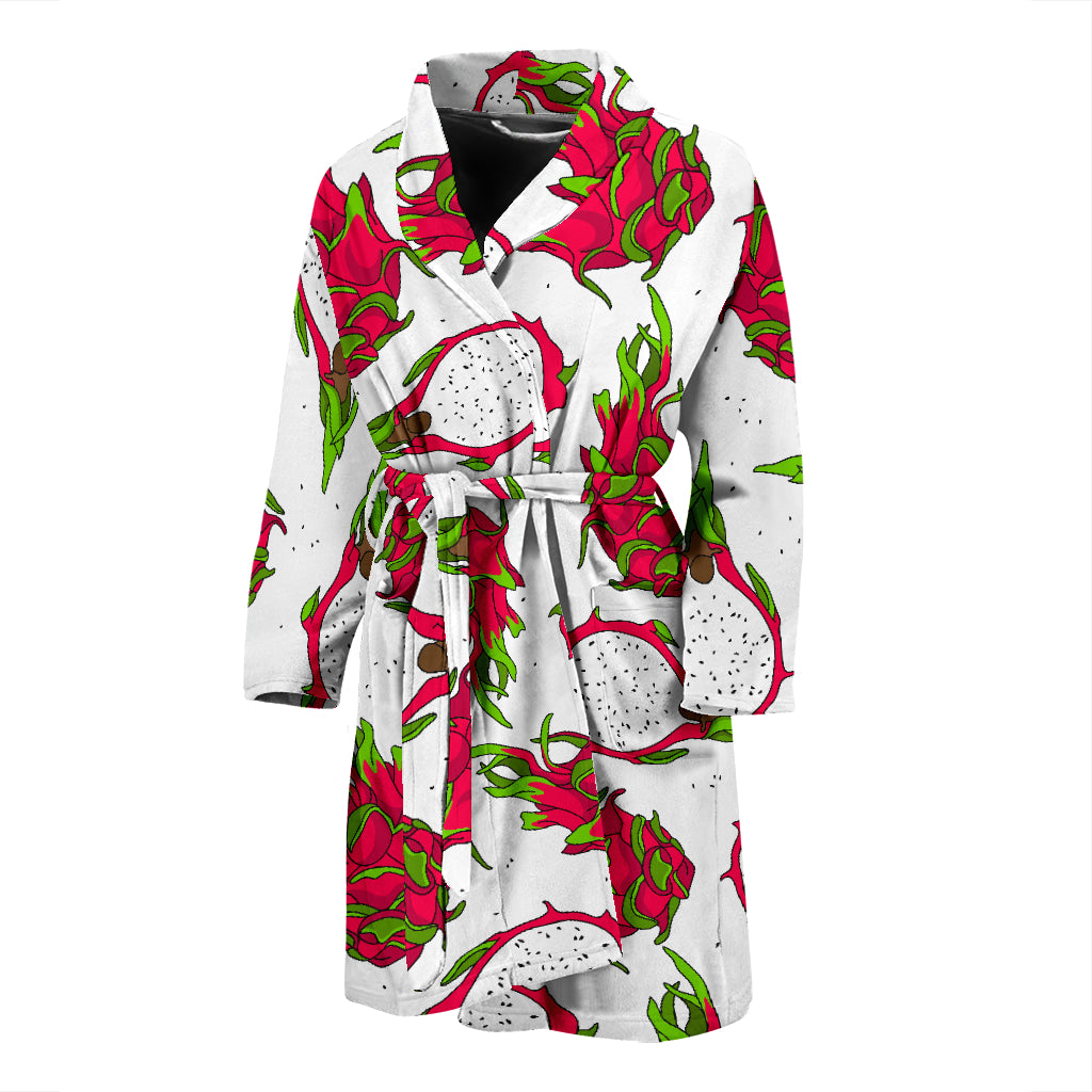 Dragon Fruits White Background Men'S Bathrobe
