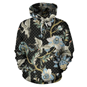 Japanese Crane Ornament Elements Men Women Pullover Hoodie