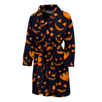 Halloween Pattern Pumpkin Background Men'S Bathrobe