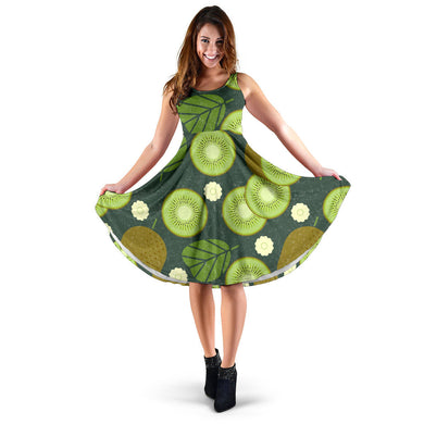 Whole sliced kiwi leave and flower Sleeveless Midi Dress
