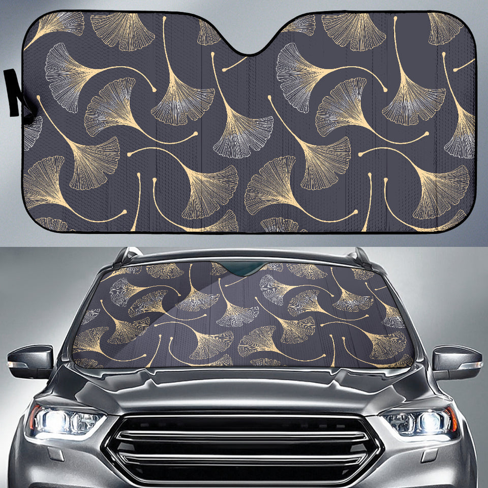 Gold Ginkgo Leaves Car Sun Shade