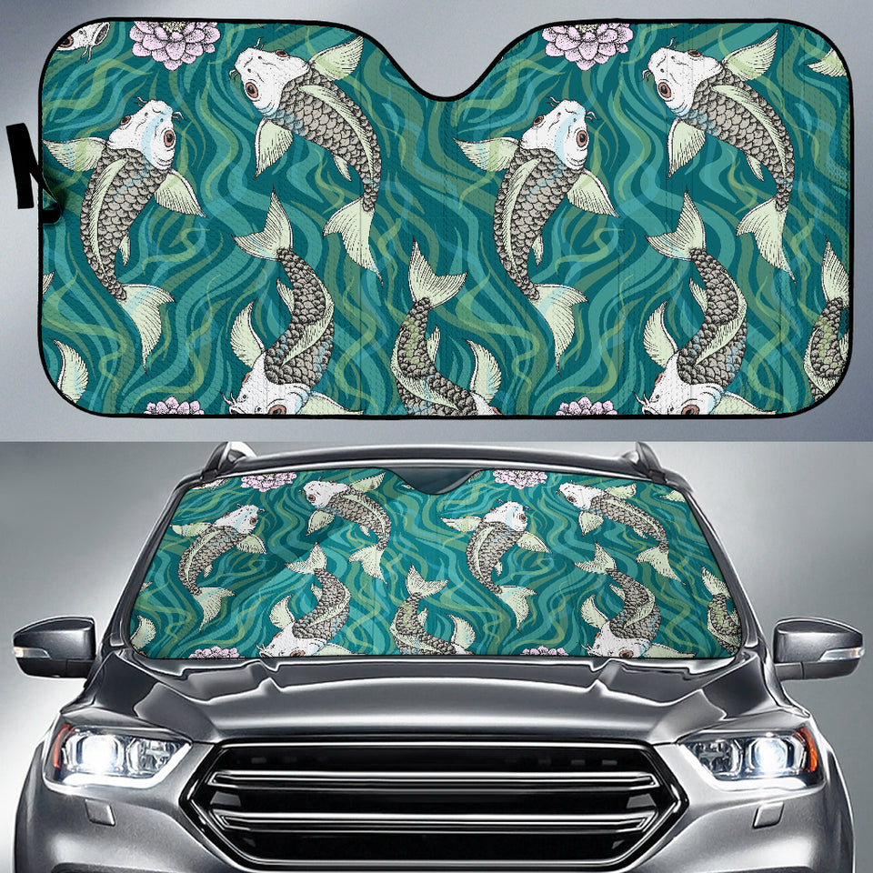 Koi Fish Carp Fish Lotus Pattern Car Sun Shade