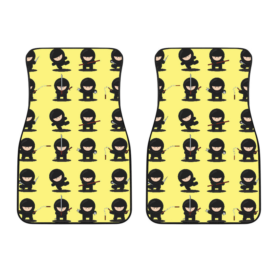 Cute Ninja Yellow Background Front Car Mats