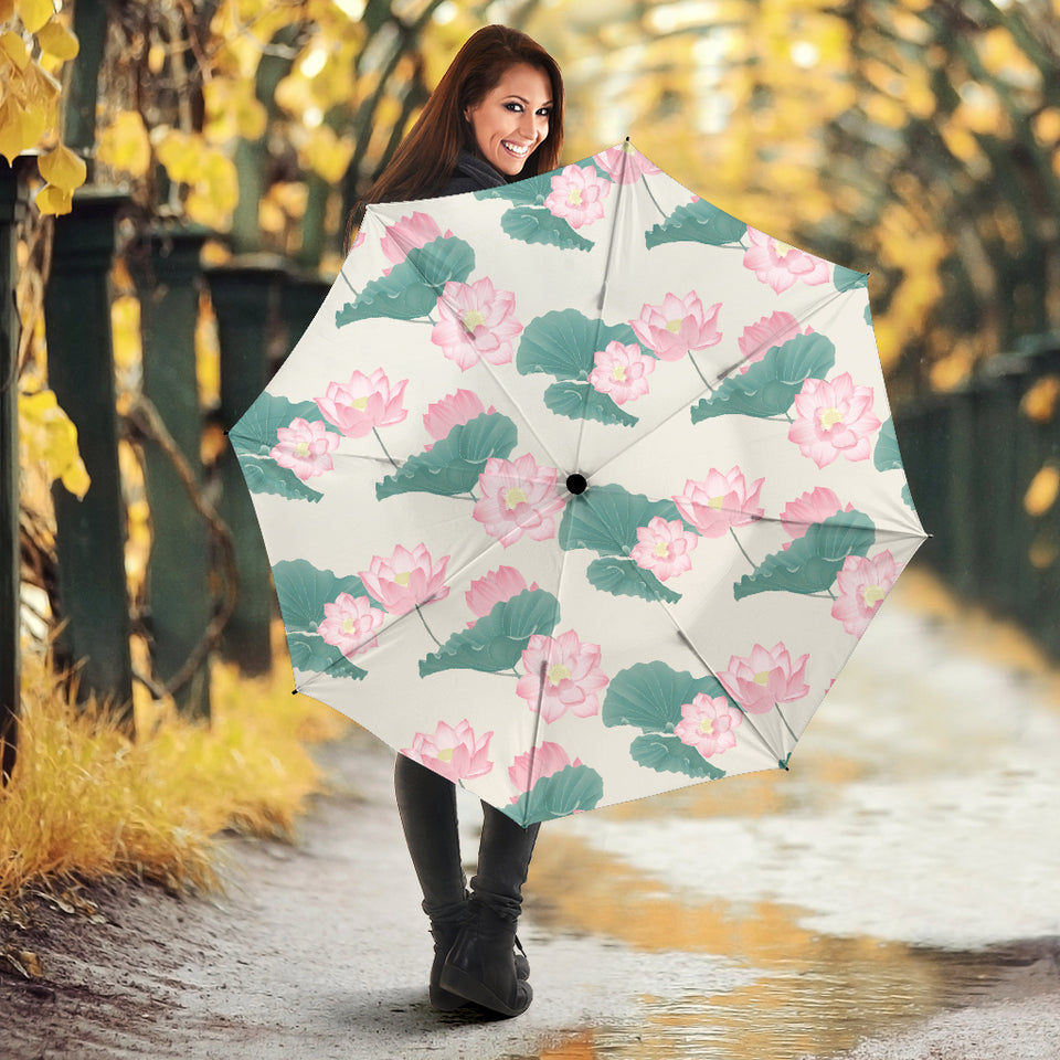 Pink lotus waterlily leaves pattern Umbrella