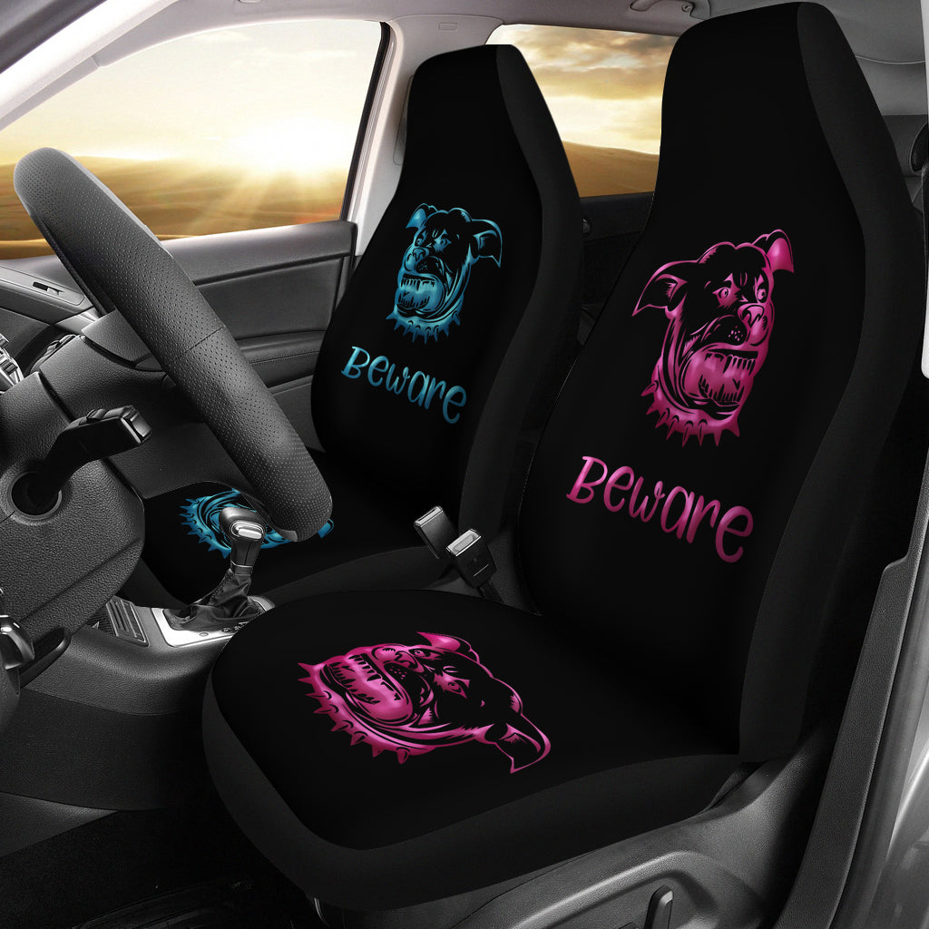 Beware of Pitbull Car Seat Covers Pink & Blue for Kings and Queens