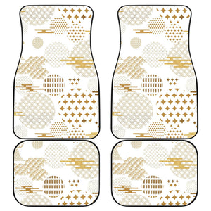 Beautiful gold japanese pattern Front and Back Car Mats