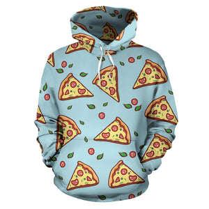 Hand Drawn Pizza Blue Background Men Women Pullover Hoodie