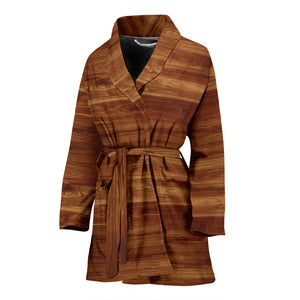 Wood Printed Pattern Print Design 04 Women's Bathrobe