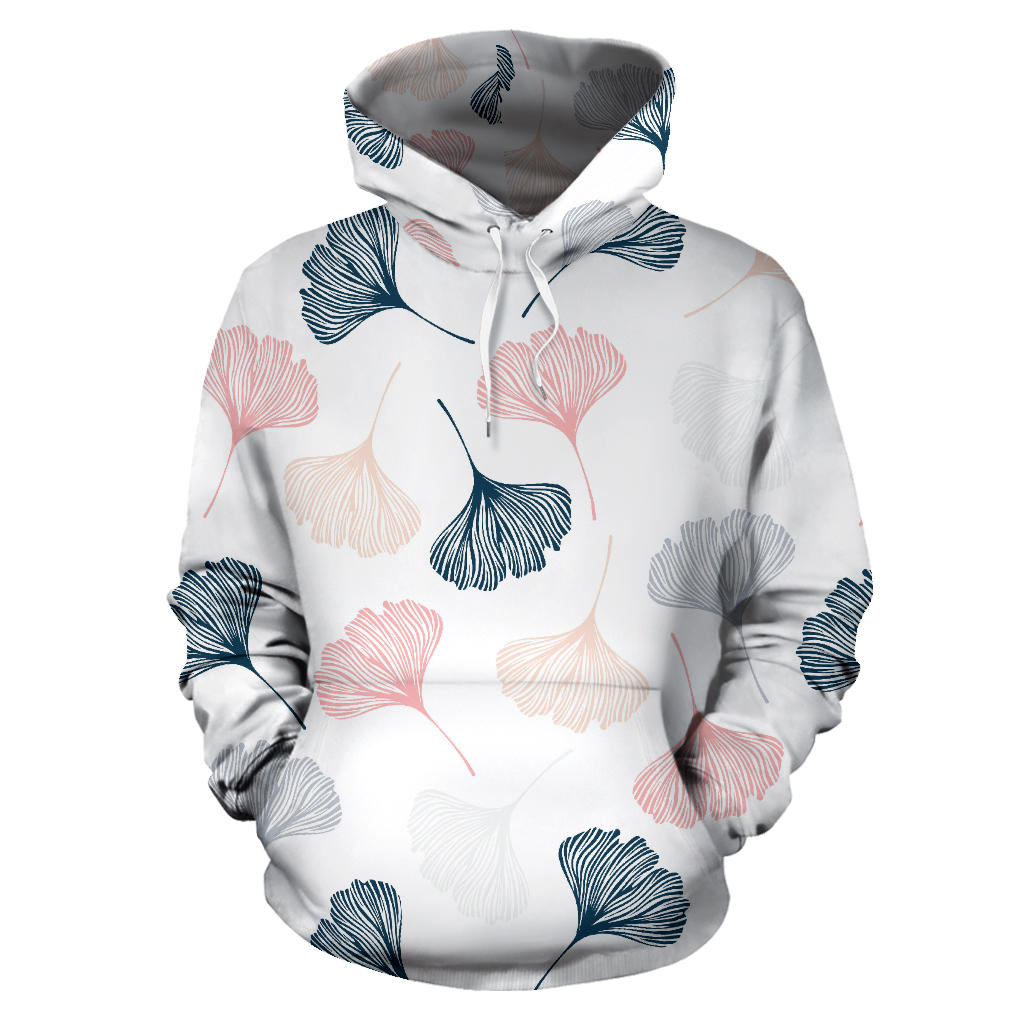 Black Gray Cream coral ginkgo leaves pattern Pullover Hoodie