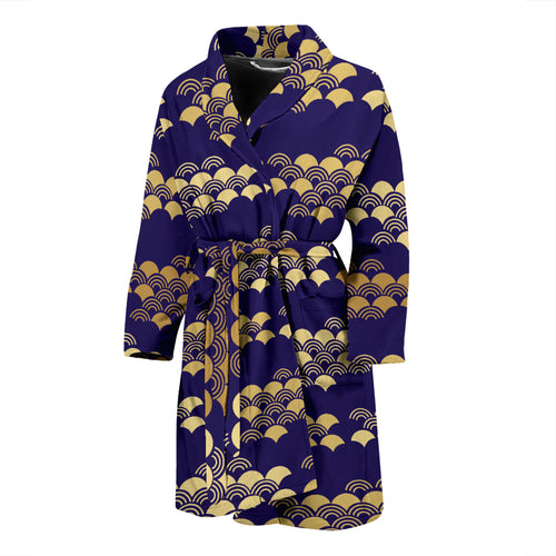 Beautiful japanese fan pattern Men's Bathrobe