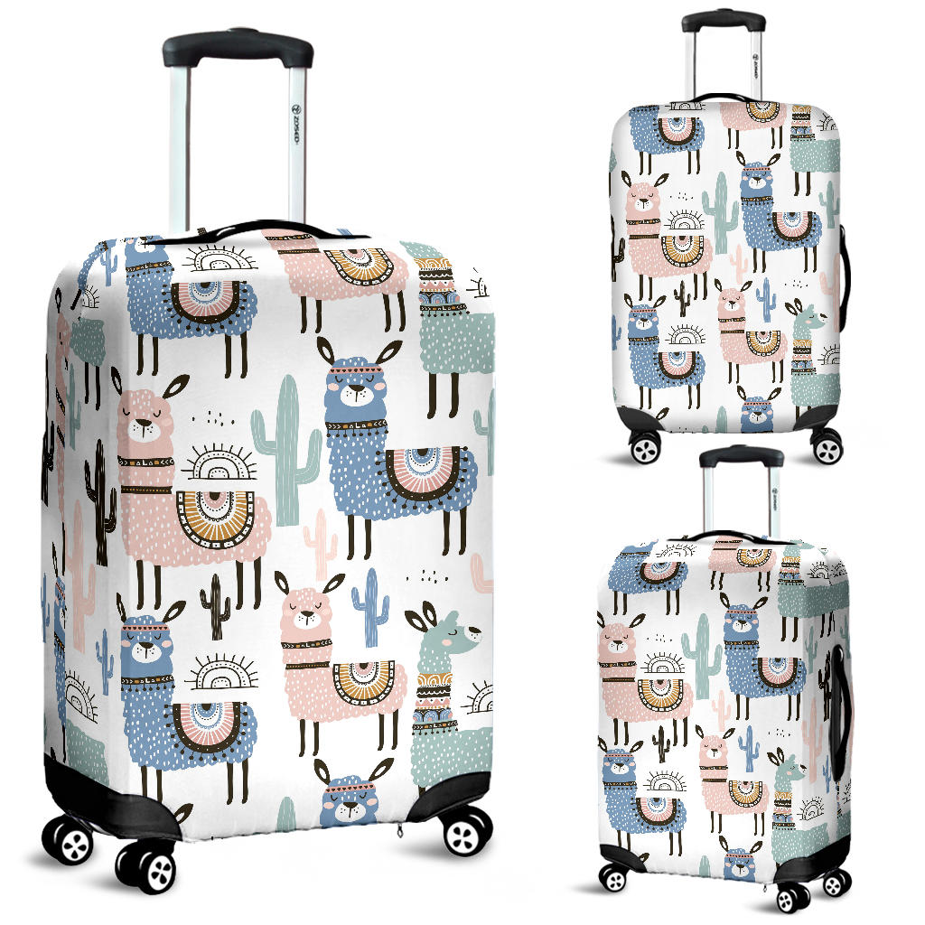 Travel Luggage Cover White Alpaca Pattern Green Cactus Suitcase Protector