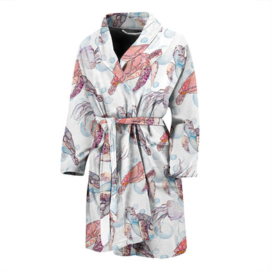 Watercolor Sea Turtle Jellyfish Pattern Men'S Bathrobe